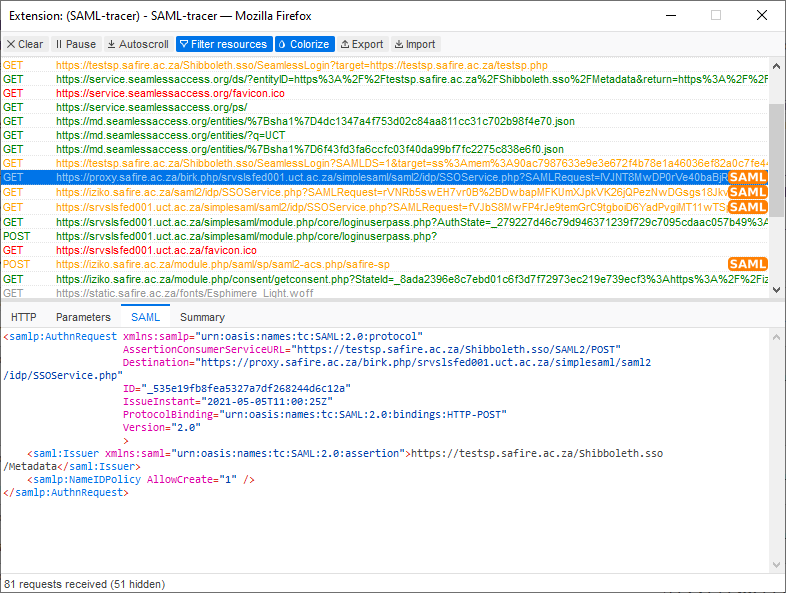Viewing the SAML trace